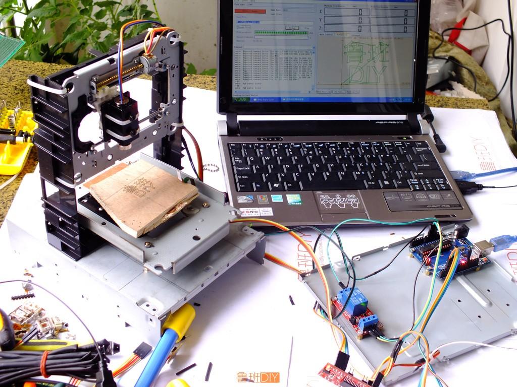 鲁班diy 激光雕刻机制作高清视频教程 废旧dvd光驱改装